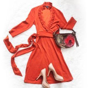 Banana Republic Burnt Orange Faux Wrap Dress
